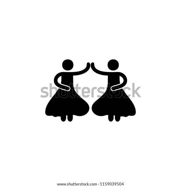 Dancing Girls Icon Element Party Icon Stock Illustration