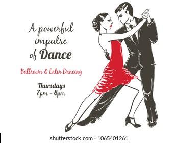 Dancing people Set. Young couple dancing Tango, Salsa, Samba latino. Salsa music party banner. Sketch illustration.