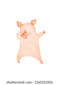 Dancing pig.  Watercolor illustration isolated on white.