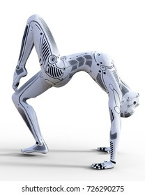 Dancing robot woman. White metal droid. Artificial Intelligence. Conceptual fashion art. Realistic 3D render illustration. Studio, isolate, high key.