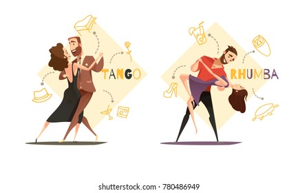 Dancing tango and rhumba couples 2 retro cartoon templates with web style accessories icons isolated  illustration