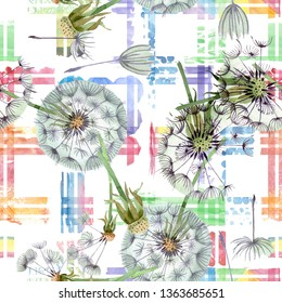 Dandelion blowball with seeds. Watercolor background illustration set. Watercolour drawing fashion aquarelle isolated. Seamless background pattern. Fabric wallpaper print texture.