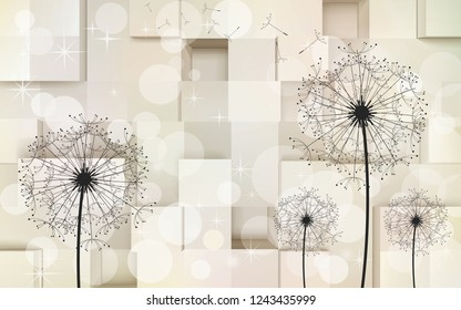 Dandelion floral pattern on ivory checks wall background 3D wallpaper