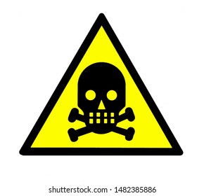 Danger of death, with a skull and crossbones  inside the yellow triangular shape sign