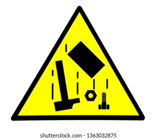 Danger, falling objects. Safety sign