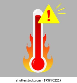 Danger High Temperature thermometer on fire  Illustration