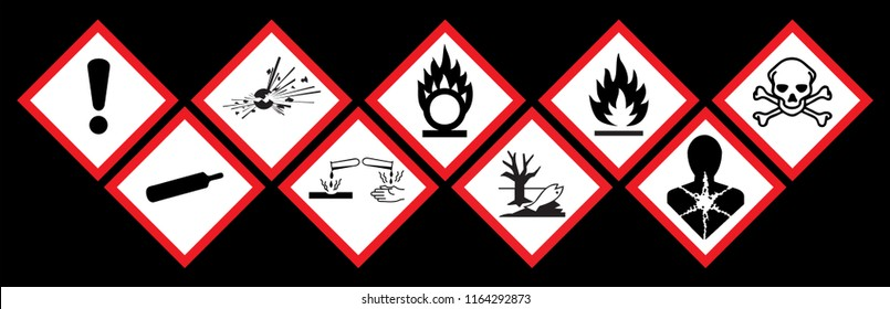 Danger icon chemics. Hazard symbol ghs safety icon set. Physical hazards, Explosive, Flammable Oxidizing, Compressed Gas, Corrosive, toxic, Harmful, Health and Environmental.