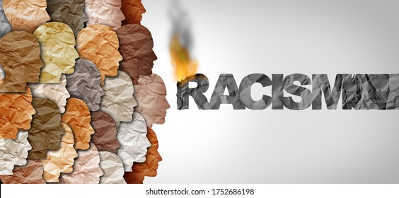 Danger of racism and racial politics concept and exploiting prejudice based on diversity ignorance and racist injustice in politics or law with 3D illustration elements.