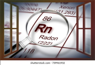 The danger of radon gas in our homes - concept image with periodic table of the elements and magnifying lens seen through a window