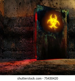 Danger room in old bunker. Open the door with bio danger sign