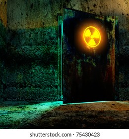 Danger room in old underground bunker. Open the door with radiation danger sign.