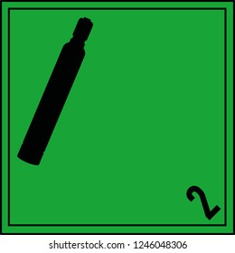Danger sign green black, Hazard Class 2.2 - Non-flammable compressed gas, without text