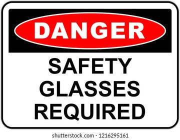 Danger Sign isolated - Safety glasses and eye protection must be worn - Wearing the glasses