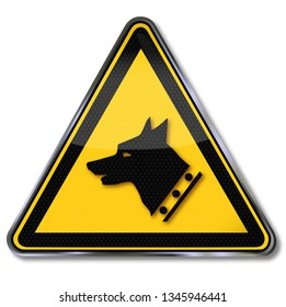 Danger sign with warning before the watchdog in this area