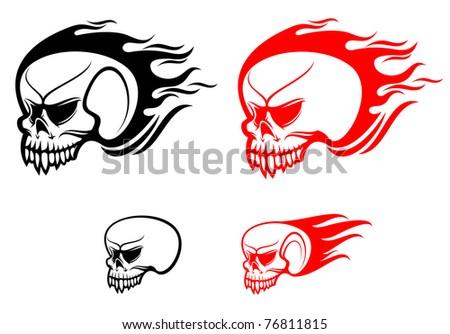 Danger Skulls Flames Warning Evil Concept Stock Illustration