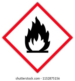 Danger symbol in France:  flammable sign set. flammable sign or symbol placed in rhomb. flammable emblem. isolated on white background