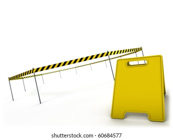 Danger tape and warning sign