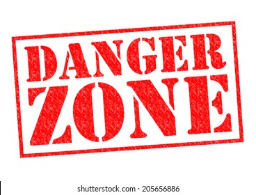 DANGER ZONE red Rubber Stamp over a white background.