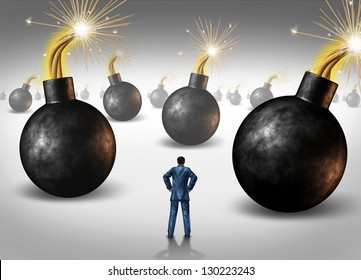 Dangerous challenge as a businessman conquering adversity as he decides on choices he faces as a concept of walking through a minefield as hazardous bombs with burning fuses ready to explode.