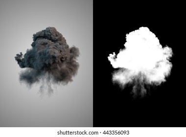 Dangerous and dramatic cloud 3d rendering of black smoke after an explosion with alpha channel