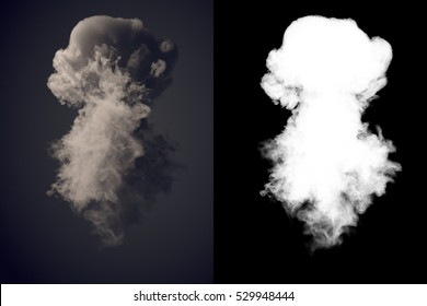 Dangerous and dramatic cloud 3d rendering of dark smoke after an explosion with alpha channel