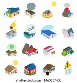 Dangerous environment icons set. Isometric set of 16 dangerous environment icons for web isolated on white background