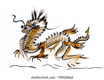Dangerous oriental dragon, mystical being, sumi-e