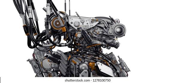 Dangerous robotic creature connected with wires / Aggressive steel alien 3d rendering