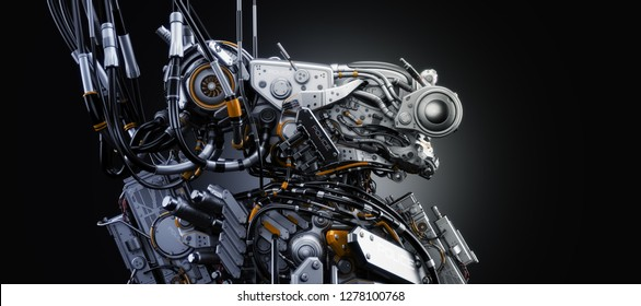 Dangerous robotic creature connected with wires / Aggressive steel alien 3d rendering