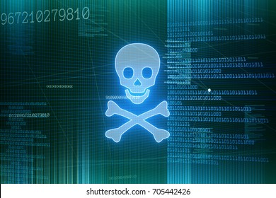 Dangerous software and internet viruses - Ransomware, ddos attacks, trojans and brute force attacks  threaten the privacy of users of computers on the internet. Hacker groups try to get information.