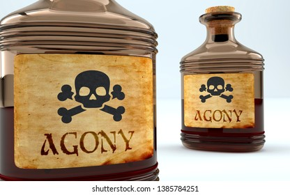 Dangers and harms of agony pictured as a poison bottle with word agony, symbolizes negative aspects and bad effects of unhealthy agony, 3d illustration