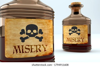 Dangers and harms of misery pictured as a poison bottle with word misery, symbolizes negative aspects and bad effects of unhealthy misery, 3d illustration