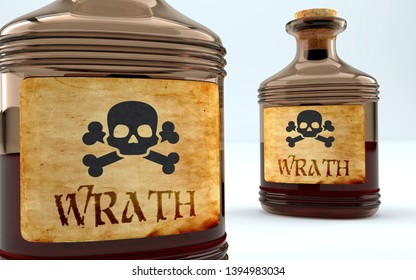 Dangers and harms of wrath pictured as a poison bottle with word wrath, symbolizes negative aspects and bad effects of unhealthy wrath, 3d illustration