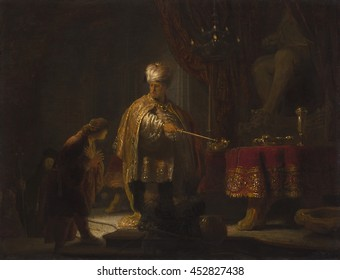 Daniel and Cyrus Before the Idol Bel, by Rembrandt van Rijn, 1633, Dutch painting, oil on panel. Humble Daniel explains to Great King Cyrus why he does not worship the deity Bel. Rembrandt evoked the
