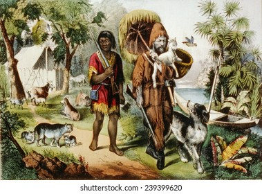 Daniel Defoe's classic characters, Robinson Crusoe, and his companion Friday, with their animals on an isolated island. 1875 Currier and Ives print.