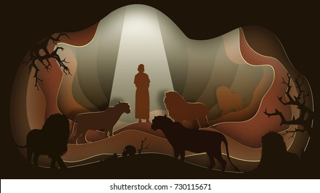 Daniel in the Lion's Den. Paper art. Abstract, illustration, minimalism.