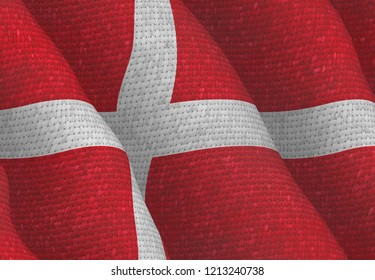 Danish Flag with a fabric structure