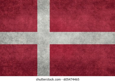 Danish flag with grungy distressed textures