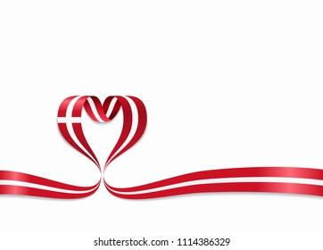 Danish flag heart-shaped wavy ribbon. Raster version.