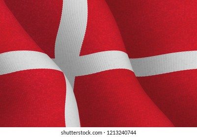 Danish flag with a textile pattern