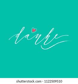 Danke inscription design. Modern handwritten brush calligraphy. Hand drawn lettering danke. Danke illustration. Sticker for social media content, cards, invitations,  posters