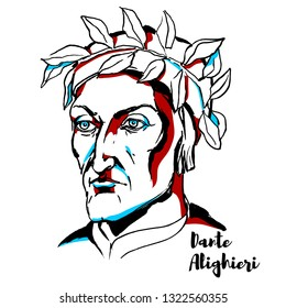 Dante Alighieri engraved portrait with ink contours. Major Italian poet of the Late Middle Ages.