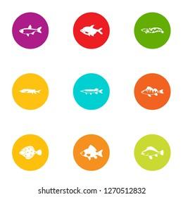 Dap fish icons set. Flat set of 9 dap fish icons for web isolated on white background