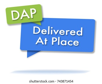 DAP incoterms initals in two colored bubbles