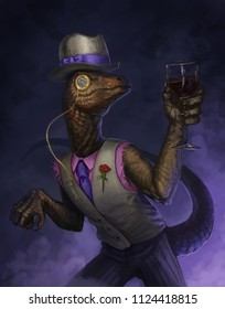 dapper anthropomorphic velociraptor wearing a top hat and monocle holding a glass of wine - digital fantasy painting