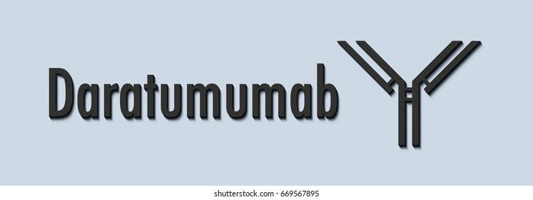 Daratumumab monoclonal antibody drug. Targets CD38, indicated for treatment of multiple myeloma. Generic name and stylized antibody.