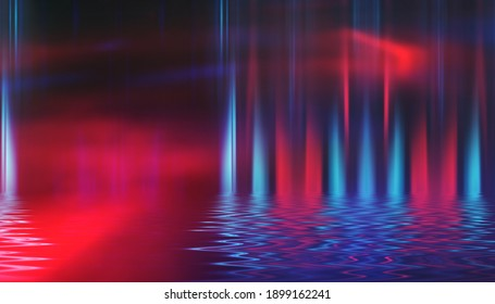 Dark abstract background. Neon shapes are reflected on water, ultraviolet light, bokeh. Beach night party. 3d illustration