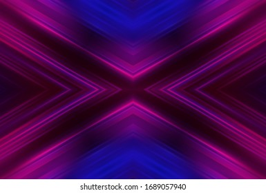 Dark abstract background with UV neon glow, blurred light lines, waves. Blue-pink neon light