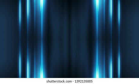 Dark abstract futuristic background. Neon lines, glow. Neon lines, shapes.