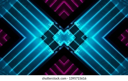 Dark abstract futuristic background. Neon lines and shapes. Neon glow and rays on a dark background